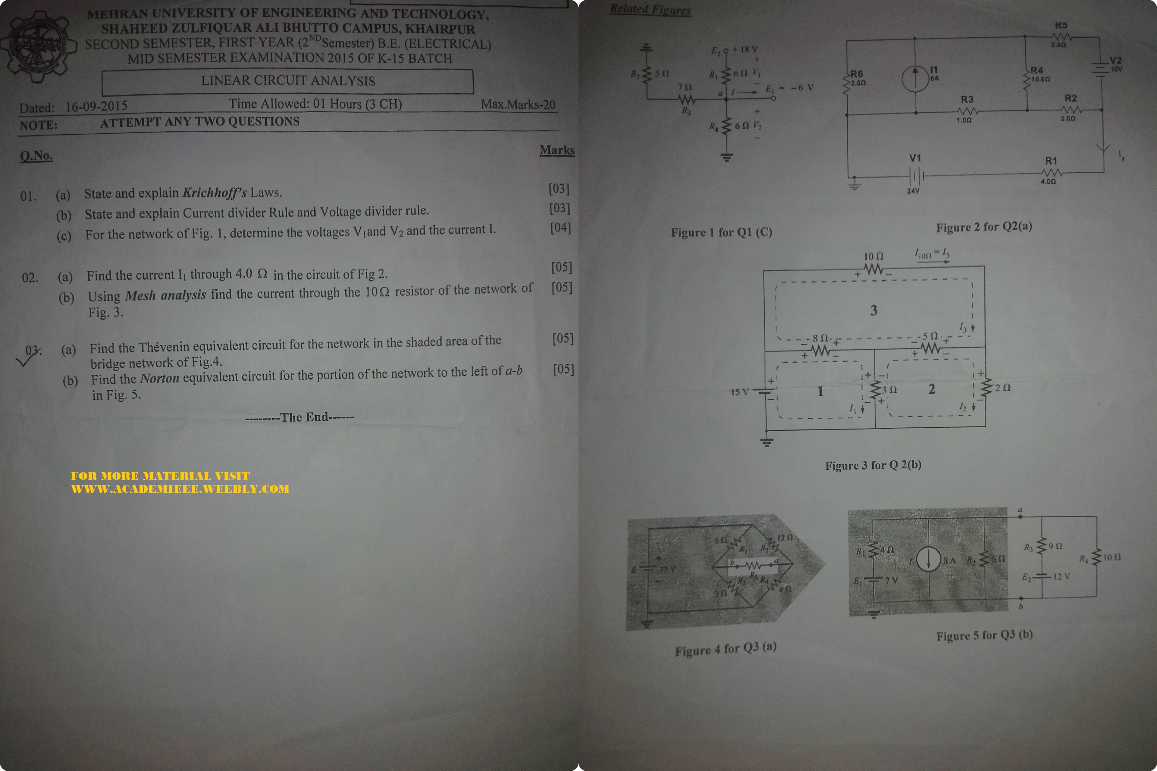 2nd Semester Department Of Electrical Engineering Muet Szab Campus Is Thevenin Equivalent Circuit B Find Lca